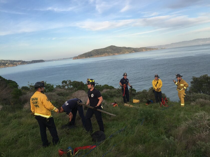 In this photo provided by the National Park Service the South Marin County Fire and Rescue suit up to help the National Park rangers  pull one of the suspects to safety Thursday Feb. 26, 2015. Park service spokeswoman Alexandra Picavet says the men got stuck on a cliff at the waterfront of Fort Bak