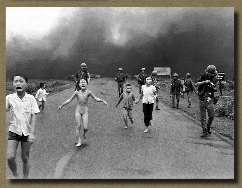The famous 1972 image of the bombing of Tang Bang, courtesy The Bridges of Rancho Santa Fe; Photo by Nick Ut.