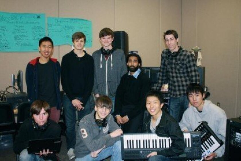 Members of the Canyon Crest Music Composition Club pose for a group picture.