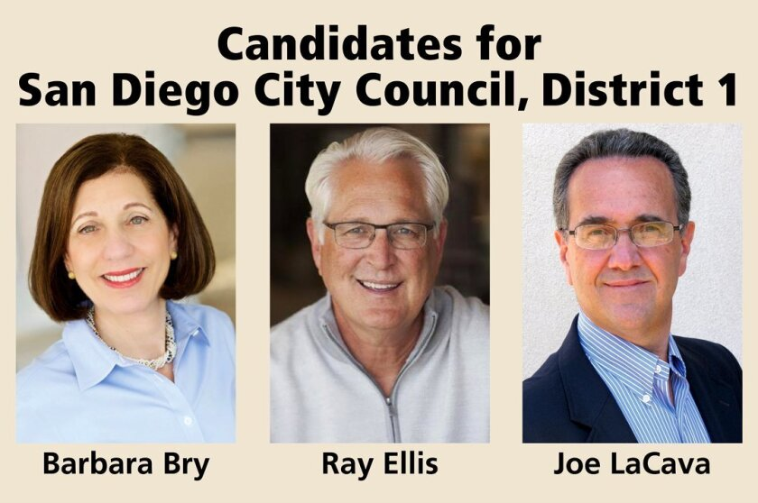 Candidates for San Diego City Council, District 1: Barbara Bry, Ray Ellis and Joe LaCava