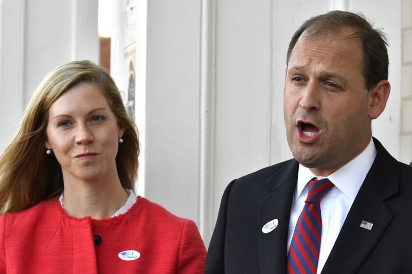 Carol Barr and her husband, Rep. Andy Barr (R-Ky.), are shown in 2018.