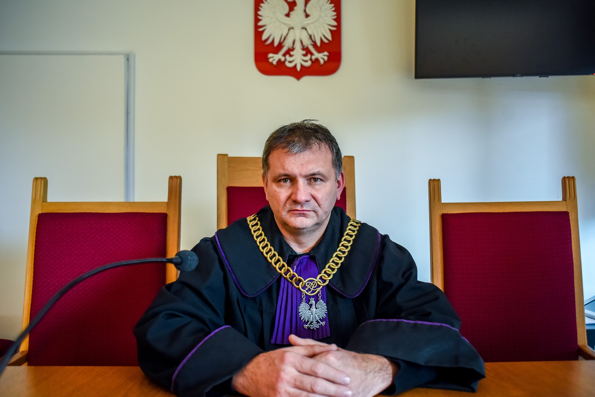 Judge Waldemar Zurek in his Krakow courtroom.