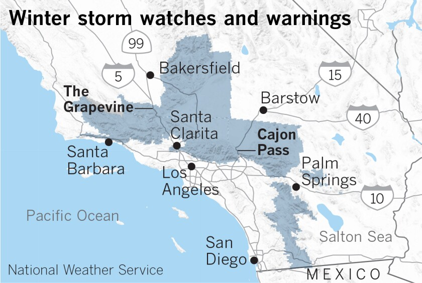 Map of winter storm warnings across Southern California