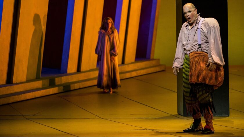 LOS ANGELES, CALIF. - MAY 10: Lisette Oropesa as Gilda and Juan Jésus Rodríguez as Rigoletto perform
