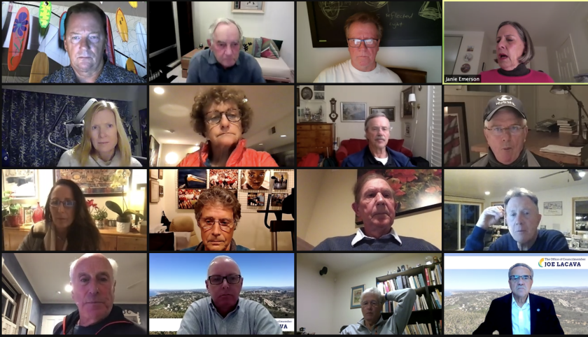 Participants in the La Jolla Shores Association's Feb. 10 online meeting discuss goals for 2021 and more.