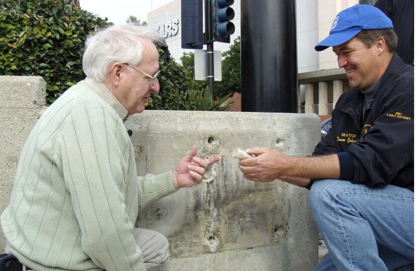 Stan Lynch with Burbank time capsule