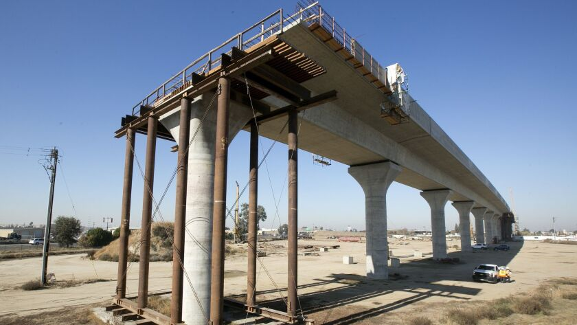 An isolated section of the high-speed rail project under construction in Fresno.