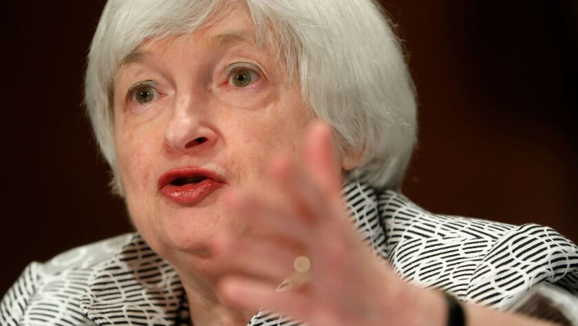 Federal Reserve Chair Janet Yellen testifies on Capitol Hill in Washington, Thursday, July 13, 2017,