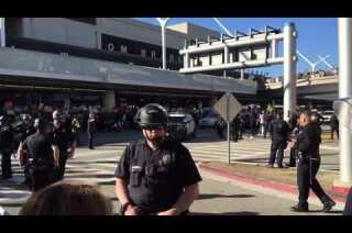 Thousands of protesters at LAX