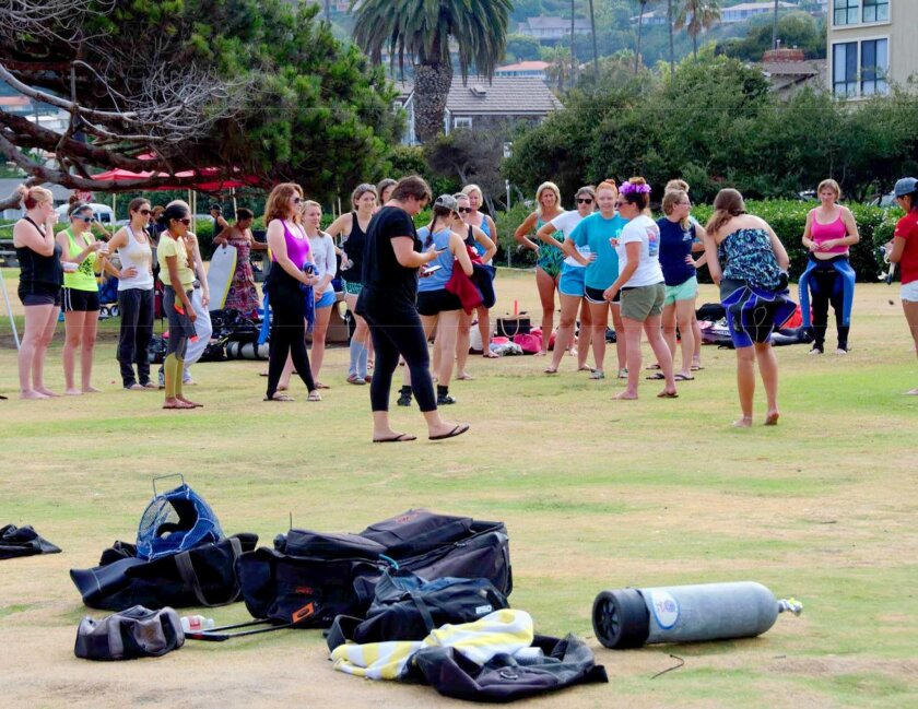 Women's Dive Day participants meet up prior to the 2015 event in La Jolla.