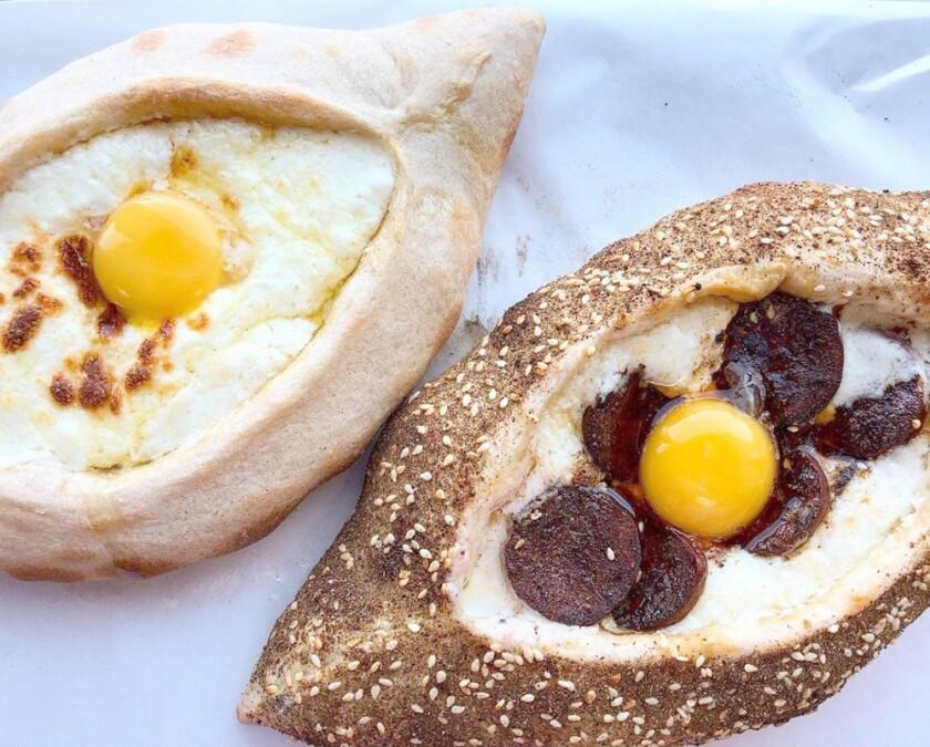 Cheese and soujouk khachapuri