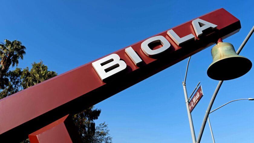 LA MIRADA, CALIF. - JAN. 10, 2019 - Biola University (Jesse Goddard / For The Times)