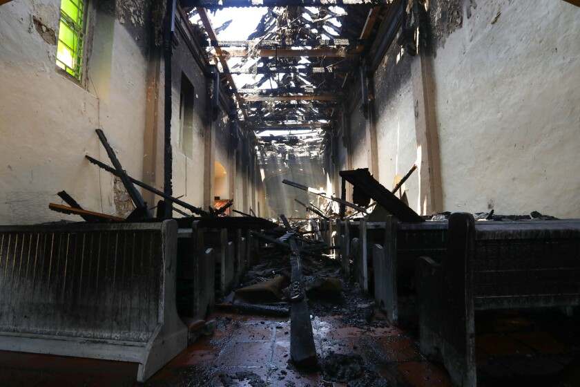 A fire burned most of San Gabriel Mission's roof and interior.
