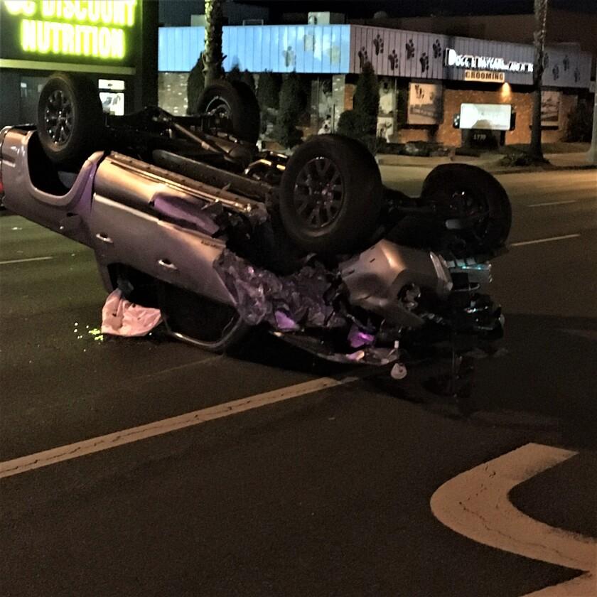 A vehicle rollover on Costa Mesa's Newport Boulevard Feb. 21, 2021