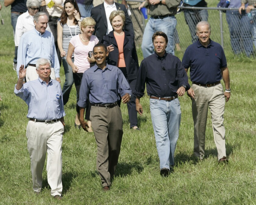 Potential Democratic presidential nominees Hillary Clinton, Chris Dodd, Barack Obama, John Edwards and Joe Biden walk to the stage before speaking at Iowa Sen. Tom Harkin's annual fundraising steak fry in, 2007.