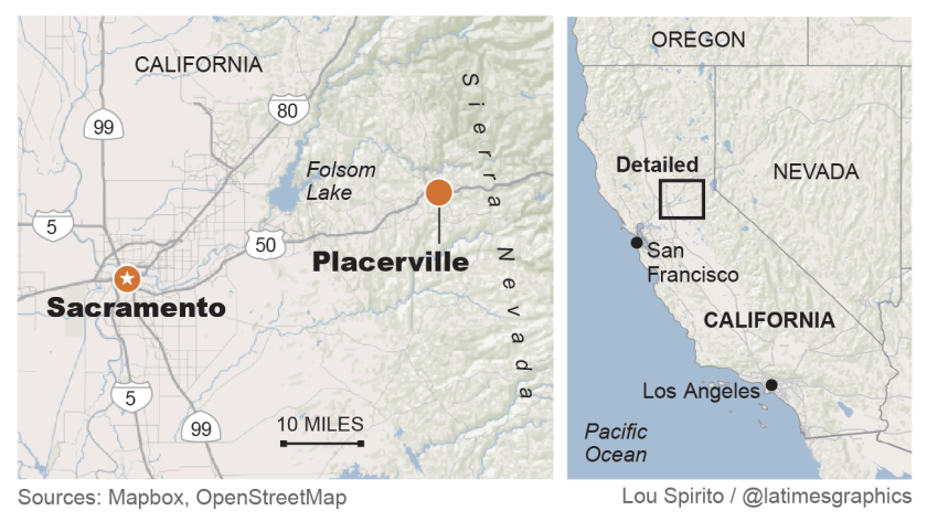 A map shows Placerville, Calif., where a restaurant's defiance of virus orders has stirred controversy.