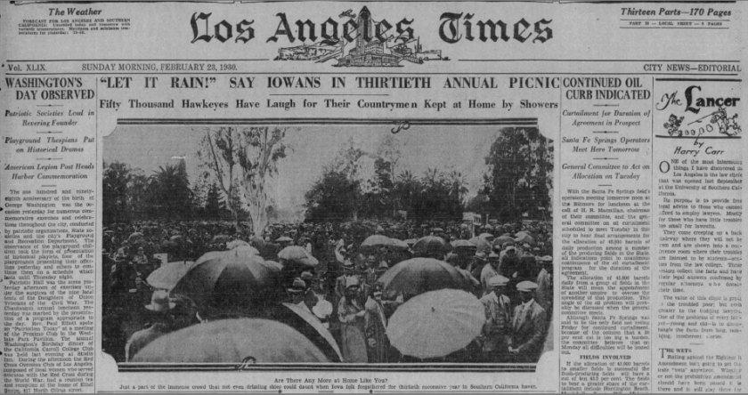 Iowa Picnic on the front page of Los Angeles Times City News section from Feb. 23, 1930.