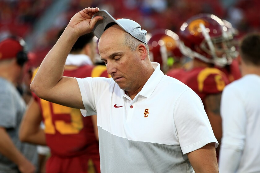 Clay Helton received a significant raise after winning 21 games in his first two full seasons, then lost 12 of 25.
