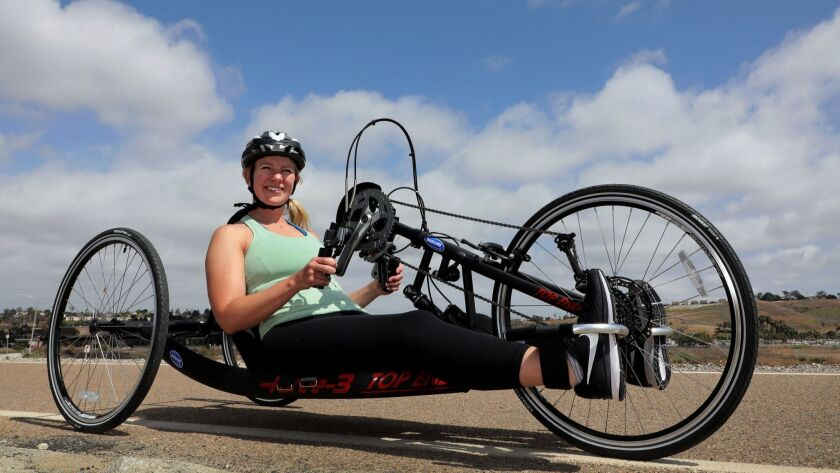 Portrait of wheelchair athlete Anna Hackenberg on the San Luis Rey River Bike Trail as she prepares to compete in the Rock 'n' Roll Marathon.