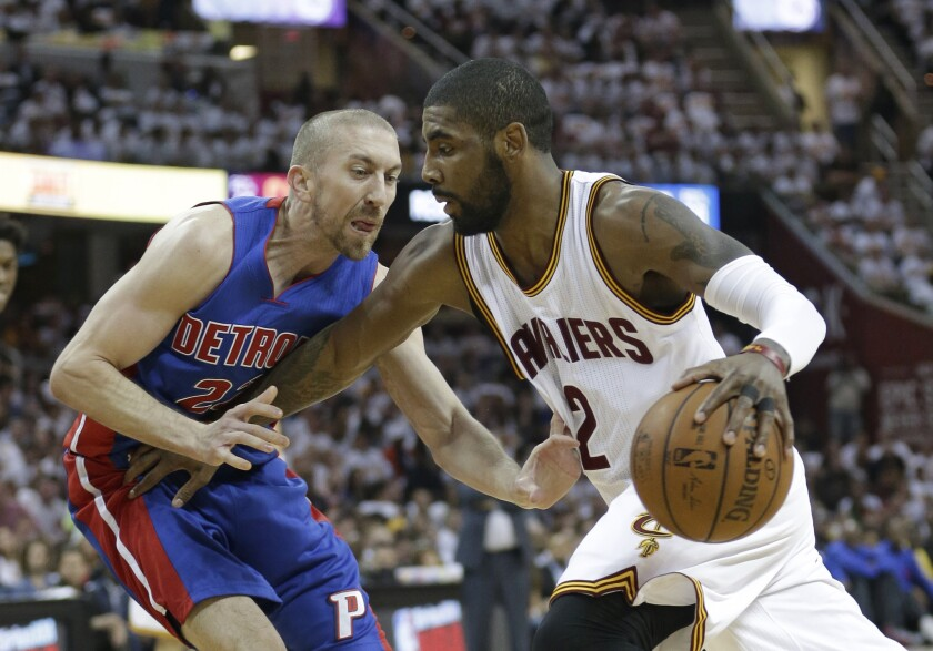 Kyrie Irving and Kevin Love lead Cavaliers past Pistons, 106-101, in Game 1
