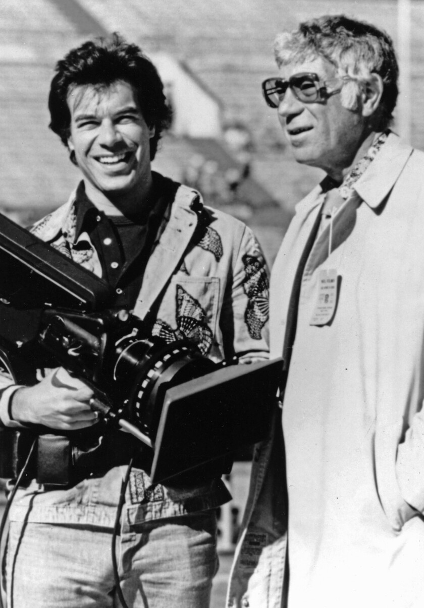 NFL Films founder Ed Sabol, right, and his son, Steve, in an undated photo.