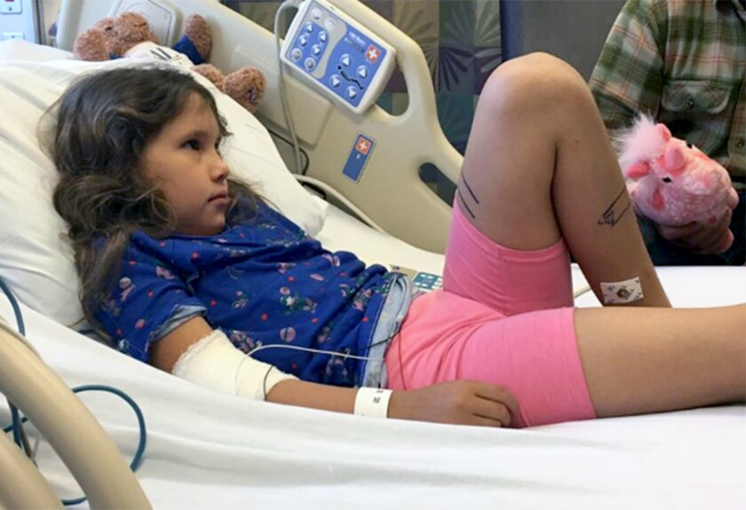 Brooklyn Campa, 8, was sent to a pediatric intensive care unit after being bitten by a rattlesnake o