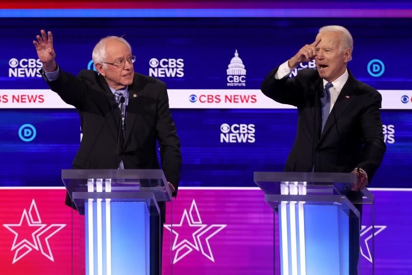 Former Vice President Joe Biden clashed vigorously with Vermont Sen. Bernie Sanders in Wednesday night's South Carolina debate.