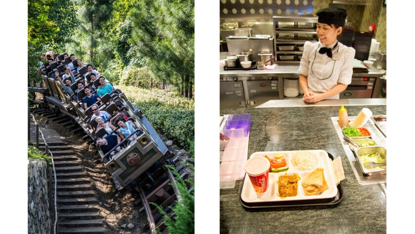 Hong Kong Disneyland's Big Grizzly Mountain Runaway Mine Cars, left. A chicken and lamb tandoori combo is served at the counter-service Explorer's Club, right. Most of the theme park's restaurants offer Cantonese, Indonesian, Japanese or Korean dishes.