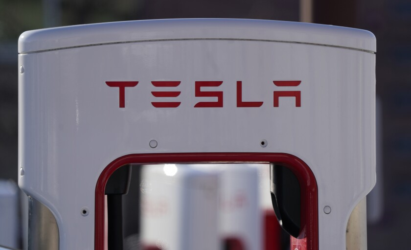 A Tesla electric vehicle charging station in Boulder, Colo.