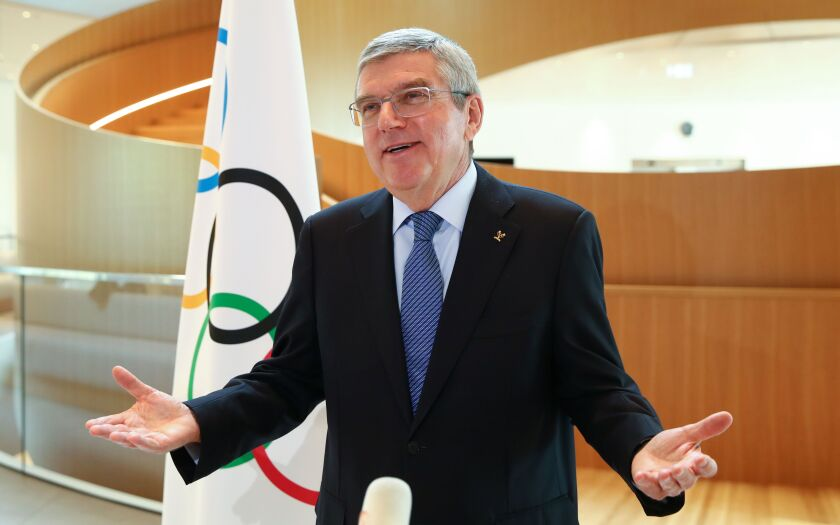 International Olympic Committee President Thomas Bach at a news conference on Wednesday.