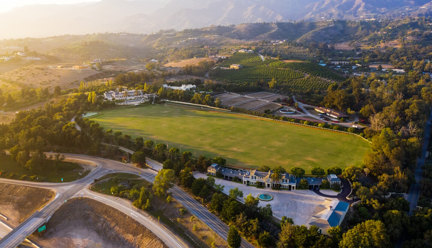 The 20-acre spread includes a regulation polo field, a driving range and a series of structures combining for 43,000 square feet.