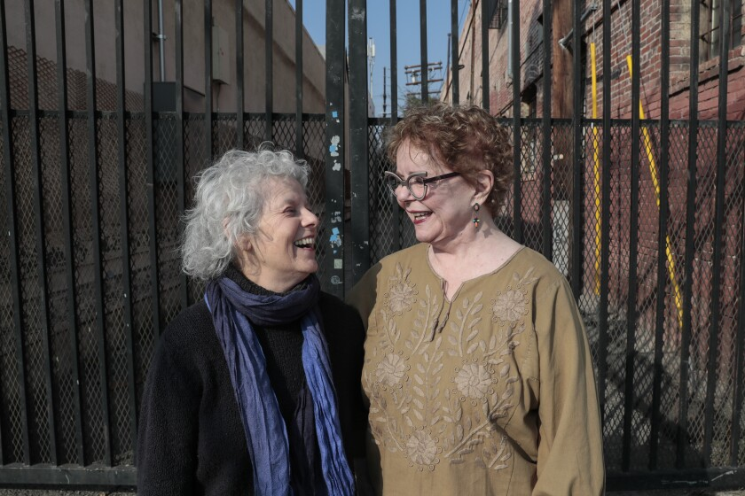 Constance Mallinson, left, and Merion Estes in downtown Los Angeles