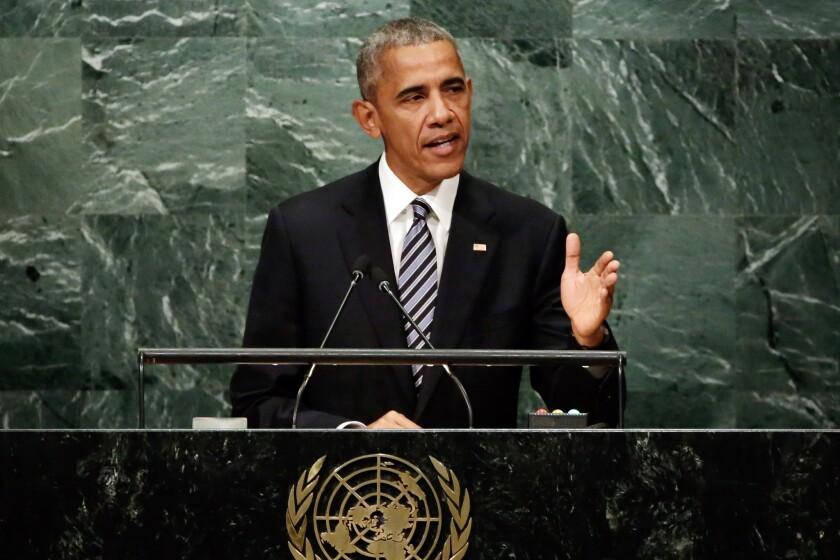 El presidente Barack Obama habla ante la 71a. sesión de la Asamblea General de Naciones Unidas, el martes 20 de septiembre de 2016, en Nueva York. (AP Foto/Richard Drew)