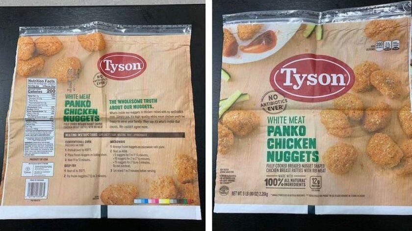The U.S. Agriculture Department says there were complaints about 5-pound packages of Tyson White Meat Panko Chicken Nuggets. The packages have a best-if-used-by date of Nov. 26, 2019. Establishment code P-13556 is in the USDA inspection mark.