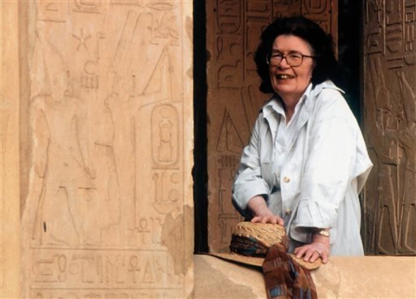This undated publicity image released by HarperCollins shows author Barbara Mertz. Mertz, an Egyptologist who wrote dozens of mystery and suspense novels under two pseudonyms, died Thursday morning, Aug. 8, 2013, at her home, in Frederick, Md., her daughter Elizabeth told her publisher HarperCollins. She was 85. (AP Photo/HarperCollins)