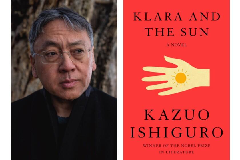 Photograph of author Kazuo Ishiguro and the orange book cover of the novel 'Klara and the Sun.'