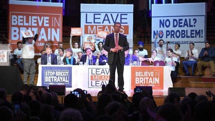 Brexit backer Nigel Farage speaks during a rally in London on Jan. 17.