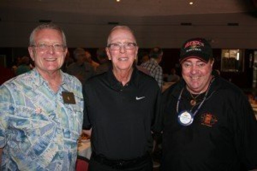 Del Mar Rotary President Bill Rawlings, San Diego State Basketball Coach Steve Fisher and Larry Cook, Rotarian and President of the Aztec Club. Photo by Karen Billing