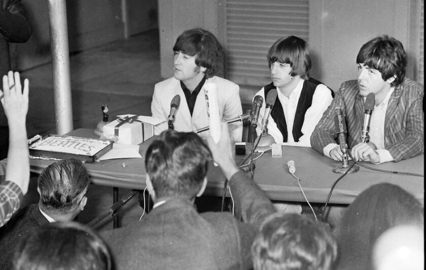8/28/1965: Beatles press conference in San Diego at Balboa Stadium.