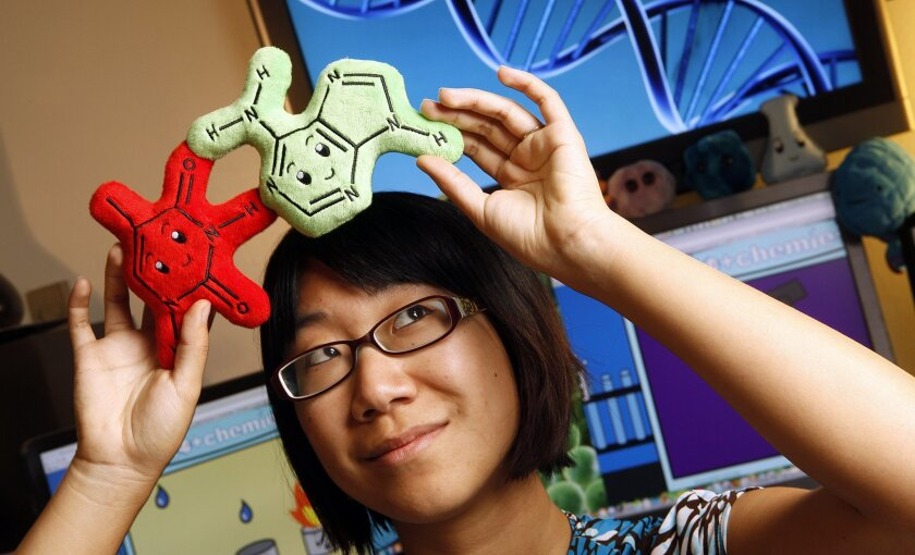 Jun Axup, a Ph.D. candidate studying biochemistry created plush DNA molecule dolls that she sells.