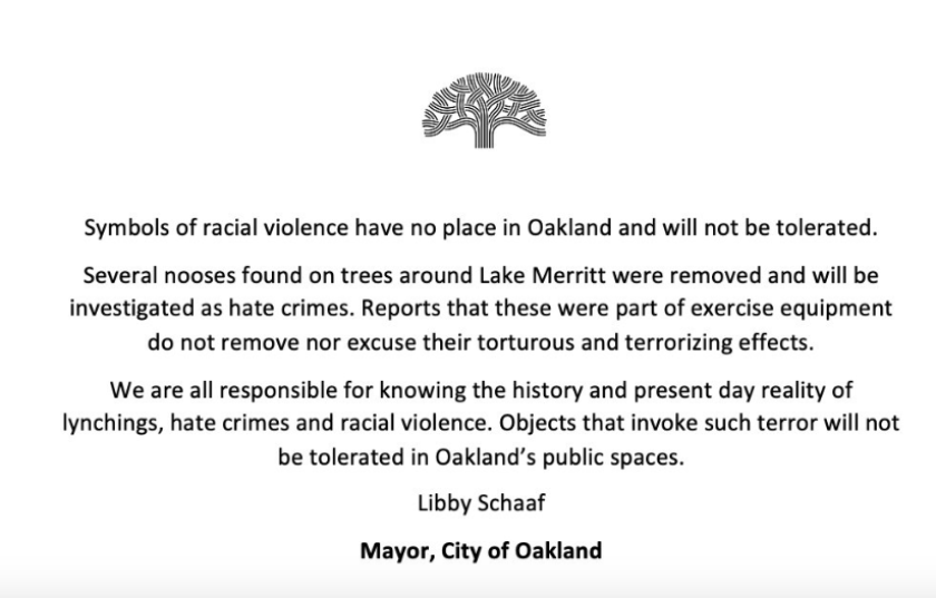 Oakland Mayor Libby Schaaf issued this statement Wednesday.