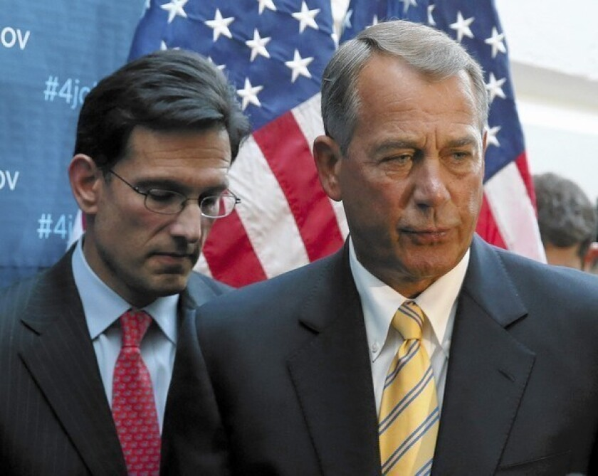 "House Majority Leader Eric Cantor (R-Va.), left, and House Speaker John A. Boehner (R-Ohio) at the Capitol. ""We are working on a standards or principles document"" on immigration, Boehner told House Republicans at a closed-door meeting, according to an attendee."