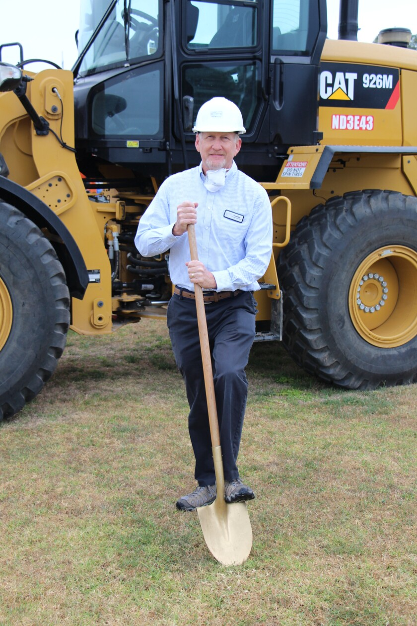 SBSD board member Dana King breaks ground on the new Solana Vista. Both of his children attended the school.