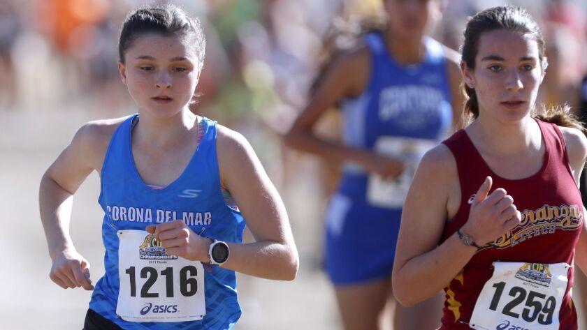 Corona Del Mar High School cross country runner #1216 Annabelle Boudreau ran in the CIF Southern Sec