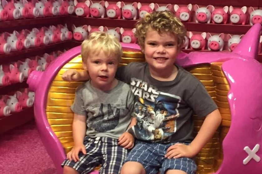 """Ace Pringle, 6, on the right, is a loving big brother to Crue, 2½. Described as """"outgoing, funny and the light of his class,"""" the first-grader at Pacific Beach Elementary School is now fighting for his life against a rare form of leukemia."""