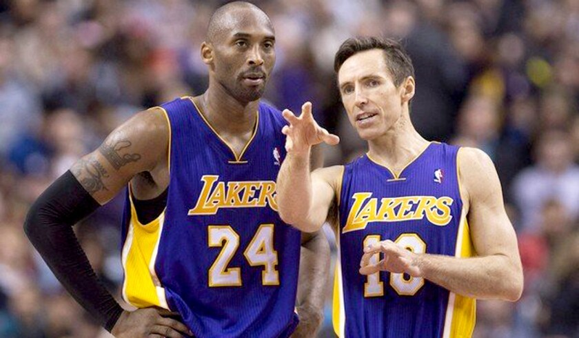 Kobe Bryant (24) and Steve Nash spent most of the last two NBA seasons in street clothes, and rarely on the court together, because of injuries.