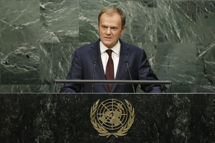 President of the European Council Donald Tusk addresses the 70th session of the United Nations General Assembly, at U.N. Headquarters, Tuesday, Sept. 29, 2015. (AP Photo/Mary Altaffer)