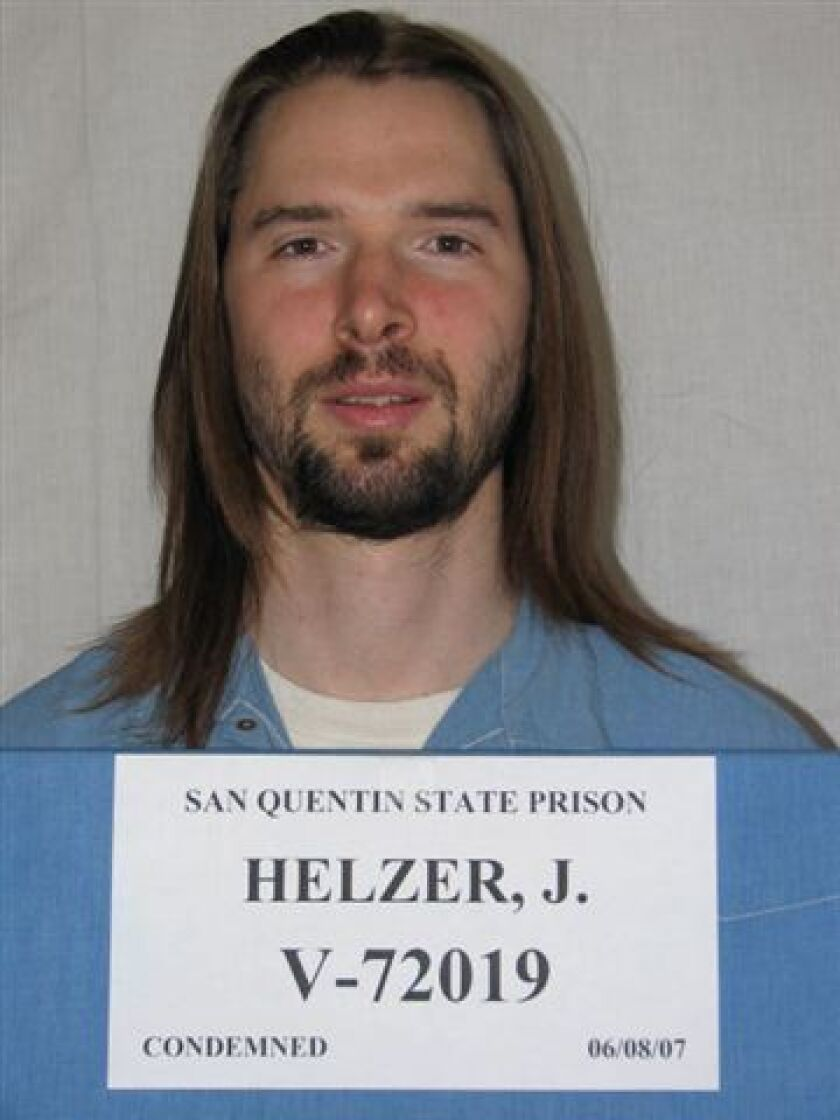 Condemned murderer Justin Helzer was found dead in his cell at San Quentin State Prison on Sunday, corrections officials said.