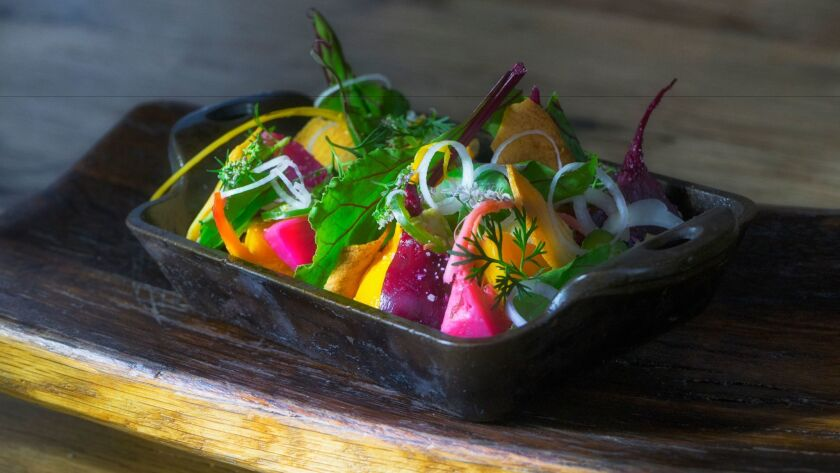 Chef Anthony Sinsay's warm beet salad is a vegetarian twist on paksiw, a vinegar-simmered stew from the Philippines.