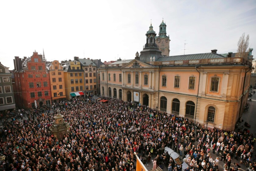 Scandal in the Swedish Academy, which awards the literature Nobel, spurred a protest in Stockholm in April 2018.